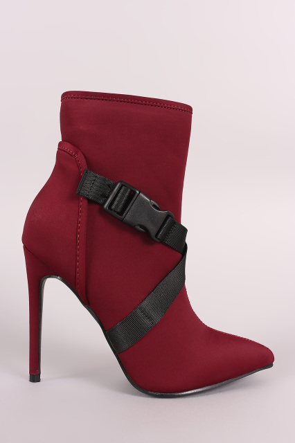 crisscross buckled strap pointy toe stiletto booties