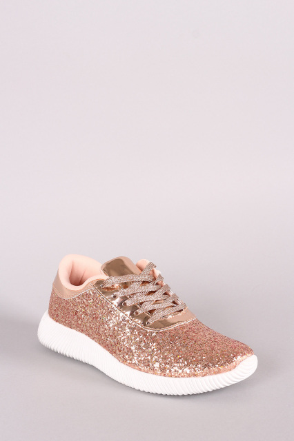 ridge sole glitter lace up sneakers